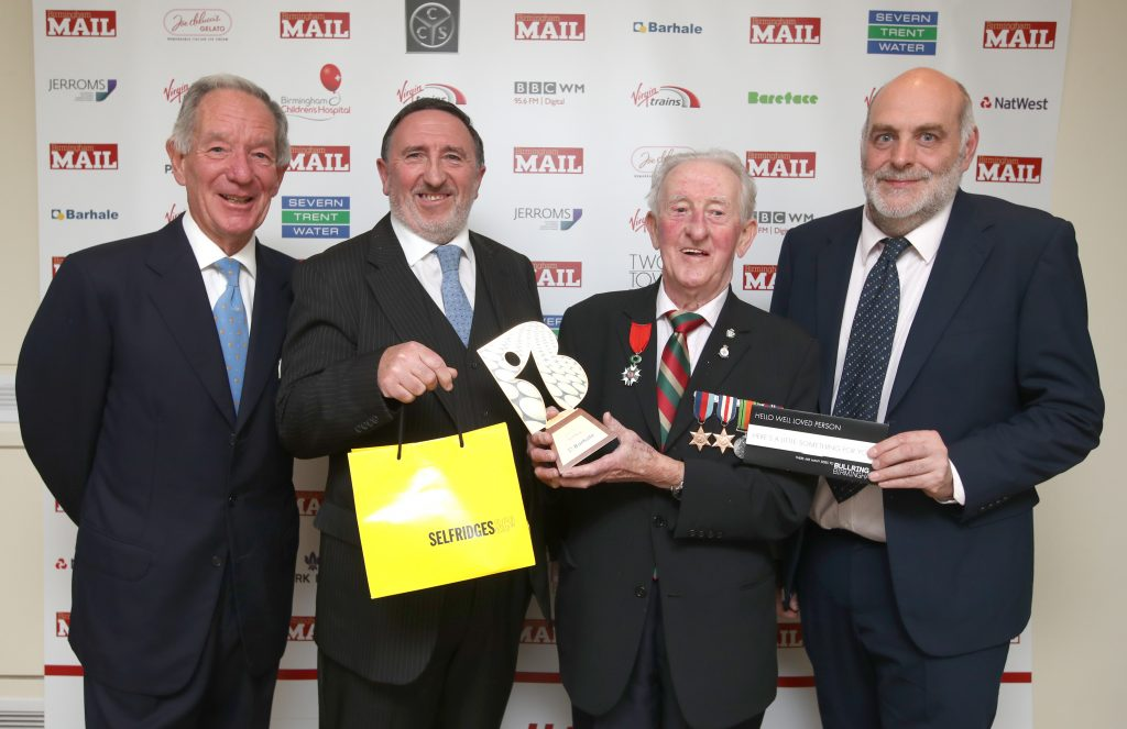 The Brummies 2016. Birmingham Museum and Town Hall. Hero Award winner Fred King with (l) Michael Buerk, Don King and Dave Shaw.