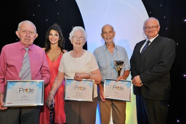 Charles Martin pictured here with runners-up Phillis Cusworth and John Barder. The event was hosted by radio presenter Melvyn Prior with special guest actress and presenter Natalie Anderson.